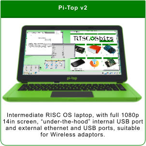 "Pi-Top v2 Intermediate RISC OS laptop, with full 1080p 14in screen, ""under-the-hood"" internal USB port and external ethernet and USB ports, suitable for Wireless adaptors."